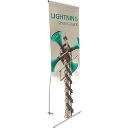 Replacement Vinyl Banner for Lightning Banner Stand. 31in Lightning Banner Stand brings together unparalleled design with exceptional reliability. Lightning is a simple and inexpensive tension back portable banner stand that fit any trade show displays