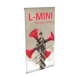 14in x 27in L-Mini Table Top Tension Banner Stand with Vinyl Banner is small tabletop-sized version of larger signs. Ideal for retail store point of purchase counter tops, convention tables, or just about anywhere you want a sign.