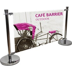 Crowd Control Cafe Barrier System with Single-sided Banner is an indoor or outdoor modular display system. Crowd control barrier, like this fencing barricade, is a great way to promote a new business, brand or event.