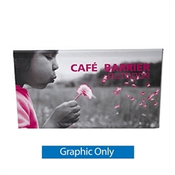 Single-sided Banner for Crowd Control Cafe Barrier System. Crowd Control Cafe Barrier System is an indoor or outdoor modular display system. Crowd control barrier, like this fencing barricade, is a great way to promote a new business, brand or event.