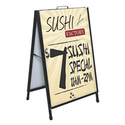 Ace Double Sided Sidewalk A-Frame display is a great way to show your message in an inddor or outdoor environment. Sturdy, easy to use, and simple to change. Ace Double Sided Sidewalk A-Frame is a great solution for your display needs.