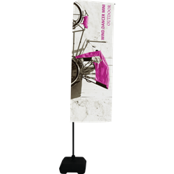 Single-Sided Flag for Wind Dancer Mini. It is a great option for outdoor and indoor banner displays. It offers an adjustable display height and comes with a black hollow base. Outdoor Indoor Flag Single Sided Banner Stand Wind Dancer Mini 8ft Tall.