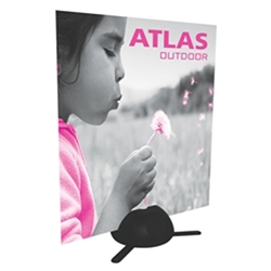The Atlas is an outdoor sign or Zoom flag holder. Use more than one Atlas to hold a large rigid graphic. The hollow plastic base can be filled with water or sand. Set up is quick and storage is easy.