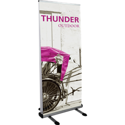 33.5in Thunder Double-Sided Outdoor Retractable with 1 Imprinted Banner has both stability and looks. It is adjustable in both width and height to allow multiple graphic sizes, and has a large base that can be filled with either water or sand