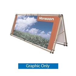 Printed Banner Monsoon Outdoor Billboard. Monsoon Outdoor Banner a semi-portable, double-sided billboard that features a strong frame that is quick and easy to assemble. The Monsoon is very easy to use, reusable and is the perfect graphics carrier