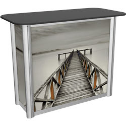 Linear Trade Show Display Counter with Rear Door is a great option for exhibitors looking for a high quality trade show exhibit counter with full graphic printing. Trades show counters and podiums offer great style and functionality for trades show