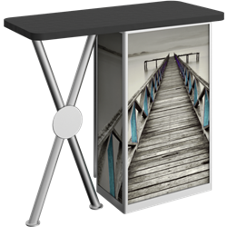 Linear Bold X-Leg Counter Counter with Door Hardware Only is a great option for exhibitors looking for a high quality trade show exhibit counter with full graphic printing. Trades show counters and podiums offer great style and functionality.