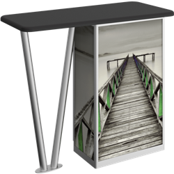 Linear Bold V-Leg Counter Counter with Door Hardware Only is a great option for exhibitors looking for a high quality trade show exhibit counter with full graphic printing. Trades show counters and podiums offer great style and functionality.