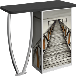 Linear Bold Tusk-Leg Counter Counter with Door Hardware Only is a great option for exhibitors looking for a high quality trade show exhibit counter with full graphic printing. Trades show counters and podiums offer great style and functionality.