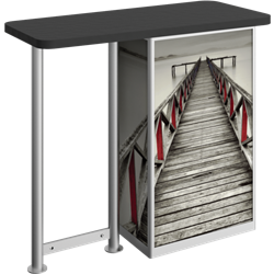 Linear Bold Straight-Leg Counter Counter with Door Hardware Only is a great option for exhibitors looking for a high quality trade show exhibit counter with full graphic printing. Trades show counters and podiums offer great style and functionality.