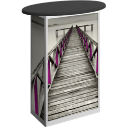 Linear Bold Oval Trade Show Portable Counter with Door Hardware Only offer sophisticated style to complement your trade show exhibit booth. Trades show linear bold portable counters and podiums offer great style and functionality for your exhibit.
