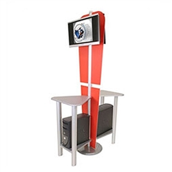 Tradeshow Monitor Kiosk - Monitor Stand - Linear Kit 5. The Linear Monitor Kiosk is the perfect complement to your linear back wall displays. Adding excitement and attention to your trade show booth with these sleek attractive Linear Monitor Kiosk