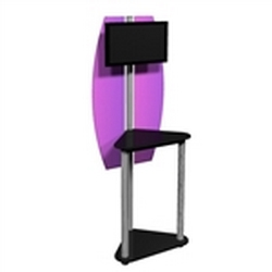 Linear Monitor Trade Show Kiosk Kit 06 Compliment your Linear Trade Show Display while adding excitement and attention to your trade show booth with these sleek attractive Monitor Stand Multi Media Kiosk with Printable Panels Linear Kit