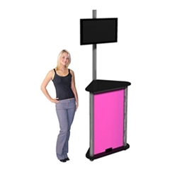 Linear Monitor Trade Show Kiosk Kit 05 Compliment your Linear Trade Show Display while adding excitement and attention to your trade show booth with these sleek attractive Monitor Stand Multi Media Kiosk with Printable Panels Linear Kit