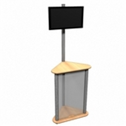 Linear Monitor Trade Show Kiosk Kit 05 Compliment your Linear Trade Show Display while adding excitement and attention to your trade show booth with these sleek attractive Monitor Stand Multi Media Kiosk with Frosted Plex wings Panels Linear Kit