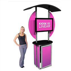 Trade show Monitor Kiosk Stand and Cabinet Modular Linear Kit 01 Compliment your Linear Trade Show Display while adding excitement and attention to your trade show booth with these sleek attractive Linear Monitor Trade Show Kiosk Kit