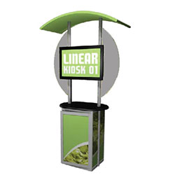 Trade show Monitor Kiosk Stand and Cabinet Modular Linear Display Kit 01 Compliment your Linear Trade Show Display while adding excitement and attention to your trade show booth with these sleek attractive Linear Monitor Trade Show Kiosk Kit