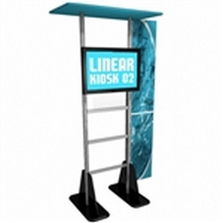 Trade Show Monitor Stand Multi Media Kiosk Modular Linear Kit 02  with Printed Wings. Compliment your Linear Trade Show Display while adding excitement and attention to your trade show booth with these sleek attractive Linear Monitor Trade Show Kiosk Kit