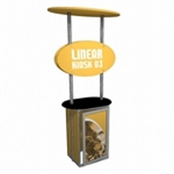 Linear Trade Show Kiosk Kit 03 Display Stand Hardware Only. Compliment your Linear Trade Show Display while adding excitement and attention to your trade show booth with these sleek attractive Linear Monitor Trade Show Kiosk Kit.