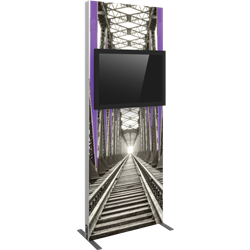 Vector Frame monitor kiosk 01 Single Sided Monitor Mount is a stylish way to display media at any tradeshow, event, retail, corporate spaces. Vector Monitor Displays feature sleek push-fit fabric graphics and a choice of single or double-sided graphics