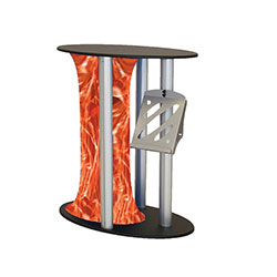 Symphony Oval Grand Counter Displays with Printed Skirt are a one of a kind way to display any kind of literature or merchandise. Symphony Oval Counters are an eye catching way to display literature or merchandise at trade show booth