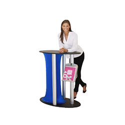 Symphony Oval Grand Counter Displays with Spandex Skirt Color are a one of a kind way to display any kind of literature or merchandise. Symphony Oval Counters are an eye catching way to display literature or merchandise at trade show booth