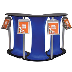 Symphony L Corner Counter Displays with Spandex Skirt Color are a one of a kind way to display any kind of literature or merchandise. Symphony Counters are an eye catching way to display literature or merchandise at trade show booth