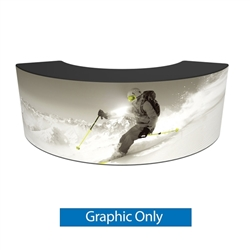 Formulate Bar counter 03 adds modern flare to any trade show exhibit, event or POP display. The curved counter pairs push-fit fabric graphics with a durable countertop and base, and provides the ideal configuration to create a display or reception counter