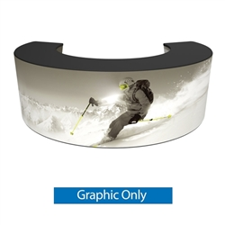 Formulate Bar counter 05 adds modern flare to any trade show exhibit, event or POP display. The curved counter pairs push-fit fabric graphics with a durable countertop and base, and provides the ideal configuration to create a display or reception counter
