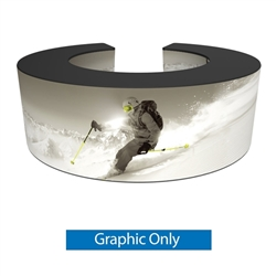 Formulate Bar counter 07 adds modern flare to any trade show exhibit, event or POP display. The curved counter pairs push-fit fabric graphics with a durable countertop and base, and provides the ideal configuration to create a display or reception counter