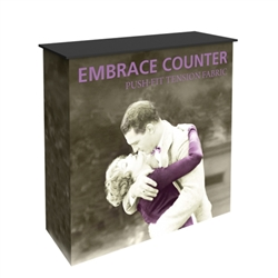 3.5ft x 3.5ft Embrace  Counter. Perfect for product launches, food sampling, ticketing, retail counters, promotional displays, exhibition counters and more.