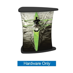 Formulate counters couple lightweight hardware with printed stretch silicone edge fabric graphics (SEG) to create funky and functional reception stands. Tables and bases are available in four colored finishes  silver, black, mahogany and natural.