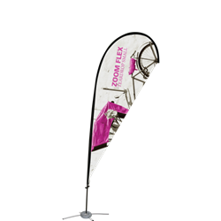 Promotional flags get your message noticed with motion!  Custom printed 9ft Zoom Flex Small single-sided Teardrop outdoor flags are perfect outside retail stores, at trade shows, expos, fairs, and more.