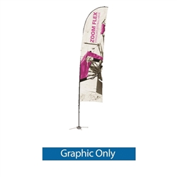 Promotional flags get your message noticed with motion!  Custom printed 19ft Zoom Flex Extra Large single-sided Edge outdoor flags are perfect outside retail stores, at trade shows, expos, fairs, and more.