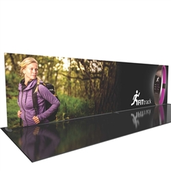 30ft Formulate Designer Series Backwall Tension Fabric Straight Display Kit 01 offer you a quick and professional look for your trade show booth. Formulate Designer Series Backwall Displays with built in counter cost-effective trade show backdrops