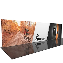 30ft Formulate Designer Series Straight Backwall Tension Fabric Display Kit 02 offer you a quick and professional look for your trade show booth. Formulate Designer Series Backwall Displays with built in counter cost-effective trade show backdrops
