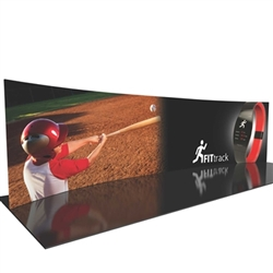 30ft Formulate Designer Series Horizontal Curved Backwall Tension Fabric Display Kit 03 offer you a quick and professional look for your trade show booth. Formulate Designer Series Backwall Displays with built in counter cost-effective trade show backdrop