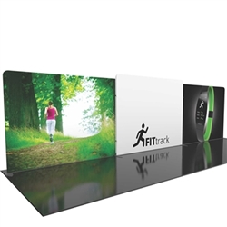 30ft Formulate Designer Series Straight Backwall Tension Fabric Display Kit 05 offer you a quick and professional look for your trade show booth. Formulate Designer Series Backwall Displays with built in counter cost-effective trade show backdrops