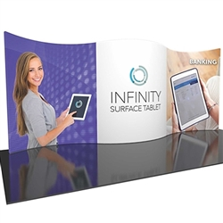 20ft Formulate Designer Series Backwall Tension Fabric Display Kit 01 offer you a quick and professional look for your trade show booth. Formulate Designer Series Backwall Displays with built in counter cost-effective trade show backdrops
