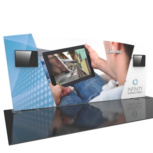 20ft Formulate Designer Series Backwall Tension Fabric Display Kit 06 offer you a quick and professional look for your trade show booth. Formulate Designer Series Backwall Displays with built in counter cost-effective trade show backdrops