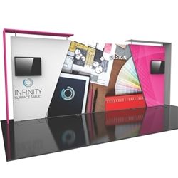 20ft Formulate Designer Series Backwall Tension Fabric Display Kit 07 offer you a quick and professional look for your trade show booth. Formulate Designer Series Backwall Displays with built in counter cost-effective trade show backdrops