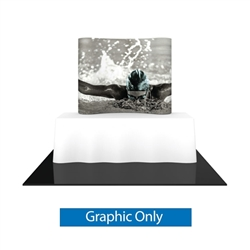 Single-Sided Graphic for 5ftx6ft Formulate Essential Tabletop Horizontal Curve Fabric Backwall have customary frame features, are portable and come in Straight, Vertical Curved and Horizontal Curved options. Formulate Essential Table Top displays stands a