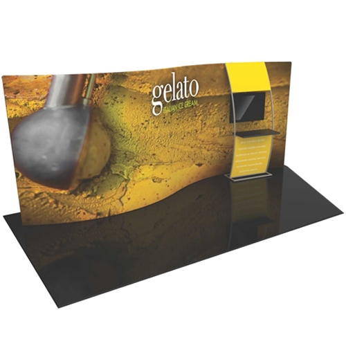 Orbus Formulate 20WSC2 20ft Serpentine Curved Fabric Display Kit with stand-off large monitor mount and shelf ladder offers a large format Single Sided graphic area to get you noticed at your trade show! High-impact, lightweight exhibit