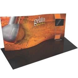 Orbus Formulate 20 WSC3 20ft Serpentine Curved Fabric Display with stand-off monitor mount, offers a large format Single Sided graphic area to get you noticed at your trade show! We offer Formulate fabric trade show banners, stretch fabric tradeshow booth