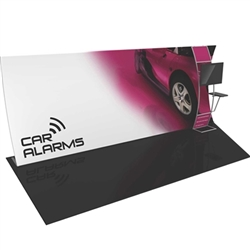 Formulate 20 WV3 20' Vertically Curved Backwall Tension Fabric Display with Stand-off Monitor Mount and Side Table (L or R) offers a large format graphic area to get you noticed at your events! New dimension to your trade show exhibit with fabric backwall