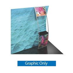 Graphic for Formulate Stand-Off Counter Ladder. Display products or literature on a Stand-Off Counter Ladder designed to complement your Formulate tension fabric display. For use with vertical curved frames only.