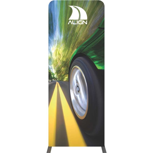 Formulate Tension Fabric Essential Banner 920 Straight with Double-Sided Graphic features a simple straight bungee-corded tube frame and a fabric graphic that simply slips over the frame. Perfect for any environment - from retail to trade show!