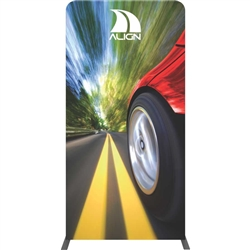 "The Formulate Essential Banner 1200 - Straight measures 47.25""W, 92""H and features a simple straight bungee-corded tube frame and a fabric graphic that simply slips over the frame."