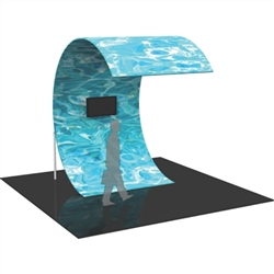 The Formulate Surf Wall Graphic Display Kit with Printed Fabric is a C-shaped multimedia display. With an organic, curved shape sustained by supporting legs, and a monitor mount for a monitor/TV, the Surf makes a distinctive statement in any space.