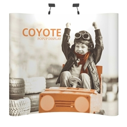 Deluxe Coyote Curved Full Graphic Muralc Pop Up Trade Show 8ft (3x3) Floor Fast  Display combines strength and reliability with style and ease of use. Named popup because of its small to large pop-up action, this type of display system